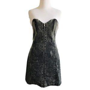 Betsey Johnson acid wash denim lace back dress
